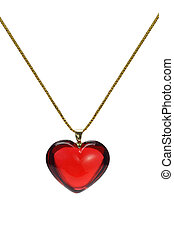 Love heart shape gemstone pendant - Red heart shape gemstone...