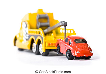 Car behind trowtruck 1 - Red car being towed away by yellow...