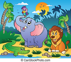 African scenery with animals 4 - vector illustration
