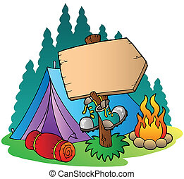 Camping wooden sign near tent - vector illustration