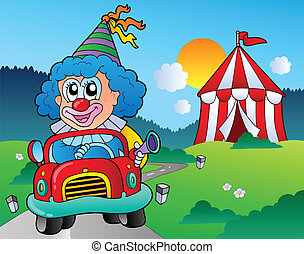Cartoon clown in car near tent - vector illustration.