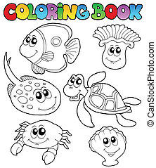 Coloring book with marine animals 3 - vector illustration.