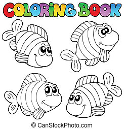 Coloring book with striped fishes - vector illustration
