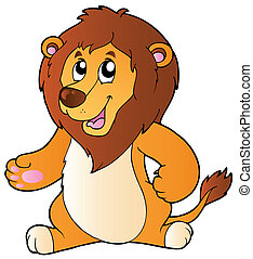 Cartoon standing lion