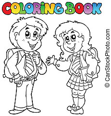 Coloring book with two students - vector illustration.