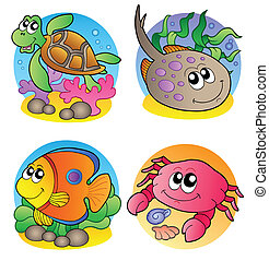 Various marine animals images 1 - vector illustration