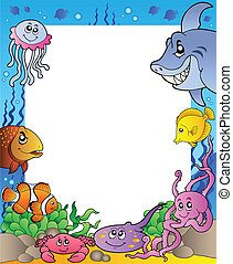 Frame with sea fishes 1 - vector illustration