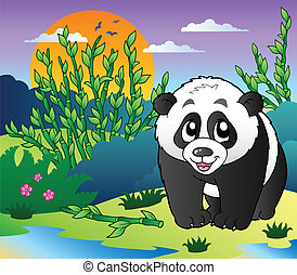 Cute small panda in bamboo forest - vector illustration.