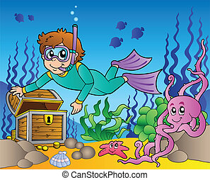 Diver exploring treasure in sea - vector illustration.