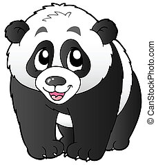 Cute small panda - vector illustration.