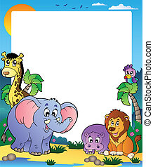 Frame with tropical animals 1