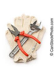 redskapen, vit, handskar, isolerat