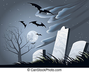 Halloween Graveyard - Illustration of a creepy graveyard...