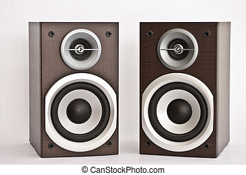Wooden audio speakers on white background