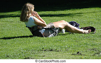 Relaxing in the park.