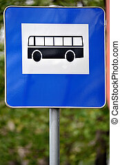 bus station sign - bus station road sign