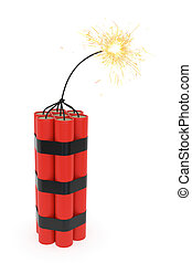 Dynamite with burning wick on white background. High...