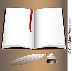 open book and a writtng pen - on an beige background of a...