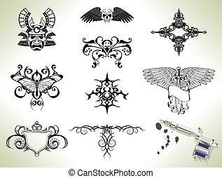 tatuaggio, lampo, disegno, elementi