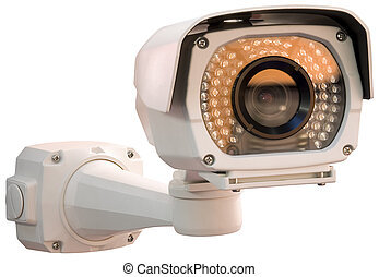 Security camera cutout - Gray security camera isolated with...