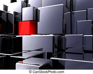 A red cube in construction - 3d illustration of a lot of...