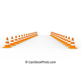 way of traffic cones
