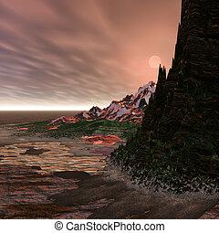 Alien World with shoreline setting.