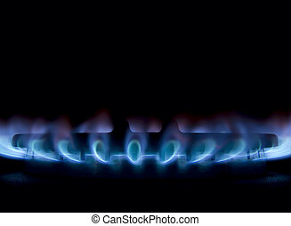 Gas burner - Square composition of gas burner isolated on...