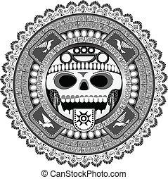 estilizado, deidad, azteca