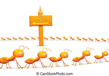 Unemployment - illustration of line of ant searching for job...