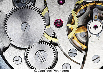 old watch gears close up