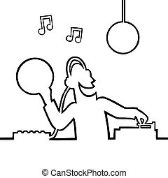 Disc jockey playing a record - Black line art illustration...