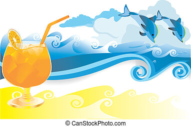 Summer with sea waves and dolphins - Summer drink of...