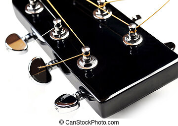 headstock of acoustic guitar - headstock of acoustic black...