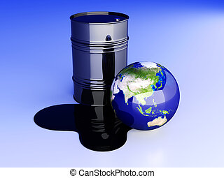 Oil disaster - Asia - 3D rendered Illustration
