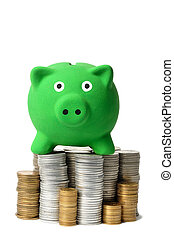 Green Piggy Bank and Coins - Green piggy bank and coins...