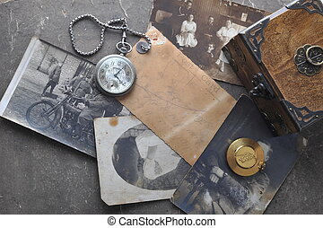 old watch on the grungde post card and photo - very old...