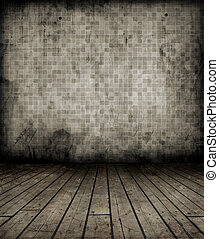 Grunge interior with wooden floor and tiled wall