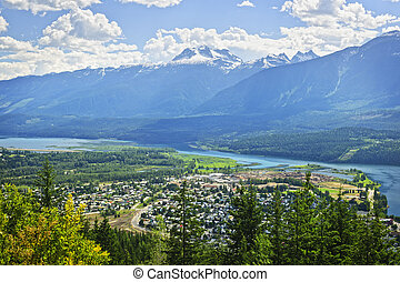 View of Revelstoke in British Columbia, Canada - View of...