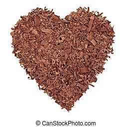 corazón, amor, alimento, dulce, pedazos, postre,  chocolate