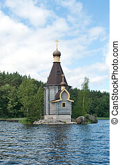 Wooden church on background nature,on island in northern...