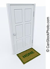 """Door with a HOME mat - Isolated door with a """"HOME"""" mat."""