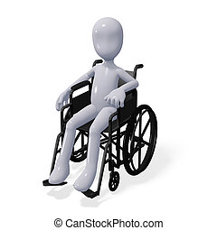 Wheelchair - three-dimensional man sits in a wheelchair