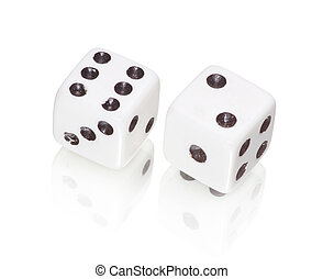 white dices - two white dices on white background