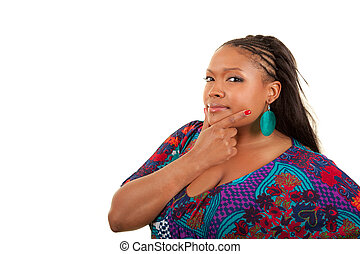 Beautiful African American woman thinking - Portrait of a...
