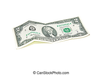 Banknote $ 2 on a white background