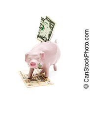 old piggy bank and banknotes - $ 2, and a thousand rubles on...