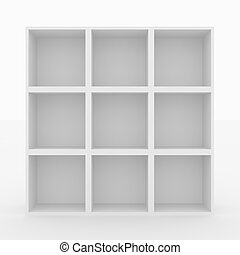 Empty white bookshelf isolated on white. 3D render image.
