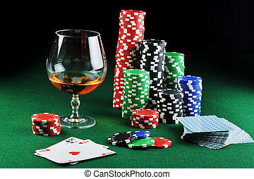 drink and playing cards - color chips for gamblings, drink...
