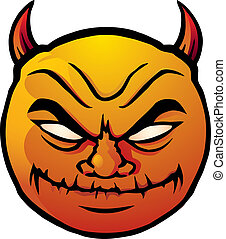 Evil smiley - Cartoon illustration of a devilish, evil...